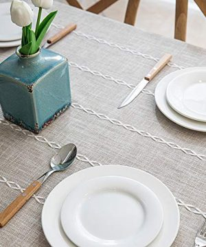 Lahome Embroidery Stripe Tassel Tablecloth Heavy Weight Cotton Linen Washable Table Cover For Kitchen Dining Room Restaurant Party Decoration Linen Rectangle 55 X 70 0 1 300x360