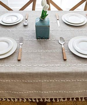 Lahome Embroidery Stripe Tassel Tablecloth Heavy Weight Cotton Linen Washable Table Cover For Kitchen Dining Room Restaurant Party Decoration Linen Rectangle 55 X 70 0 2 300x360