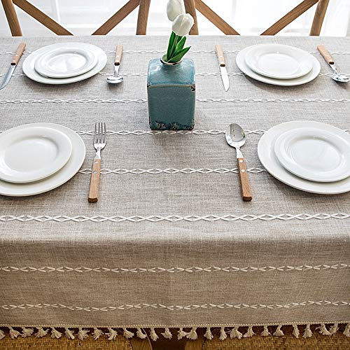 Lahome Embroidery Stripe Tassel Tablecloth Heavy Weight Cotton Linen Washable Table Cover For Kitchen Dining Room Restaurant Party Decoration Linen Rectangle 55 X 70 0 2