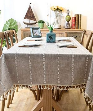Lahome Embroidery Stripe Tassel Tablecloth Heavy Weight Cotton Linen Washable Table Cover For Kitchen Dining Room Restaurant Party Decoration Linen Rectangle 55 X 70 0 300x360