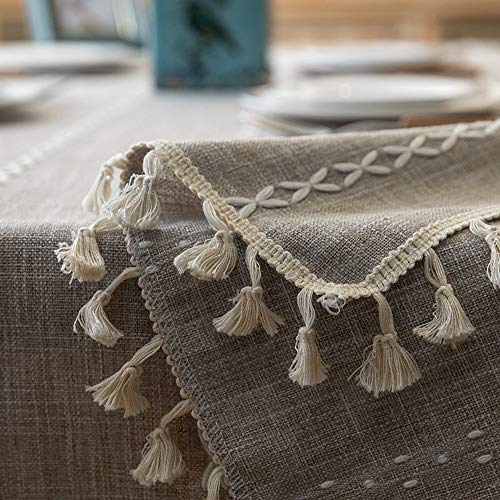 Lahome Embroidery Stripe Tassel Tablecloth Heavy Weight Cotton Linen Washable Table Cover For Kitchen Dining Room Restaurant Party Decoration Linen Rectangle 55 X 70 0 4