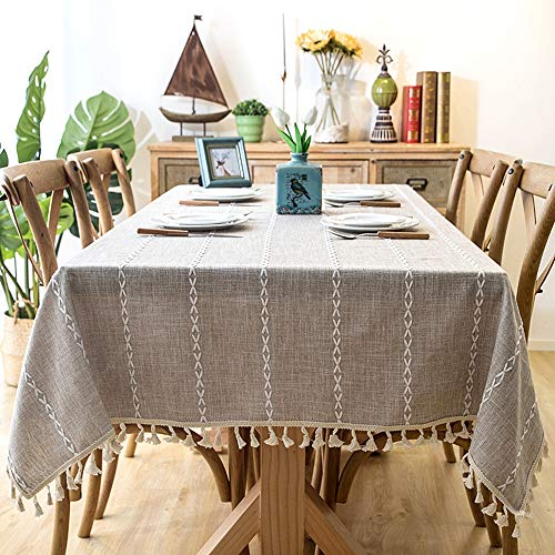 Lahome Embroidery Stripe Tassel Tablecloth Heavy Weight Cotton Linen Washable Table Cover For Kitchen Dining Room Restaurant Party Decoration Linen Rectangle 55 X 70 0