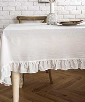Lahome Rustic Flounces Tablecloth Cotton Linen Washable Vintage Ruffle Trim Table Cover For Boho Wedding Banquet Tabletop Bridal Baby Shower Birthday Party Decor White Round 60 0 300x360