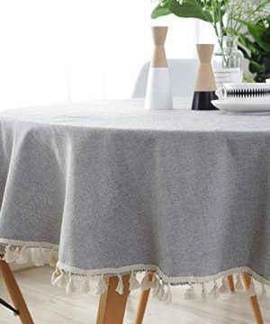 Lahome Solid Color Tassel Tablecloth Cotton Linen Round Table Cover Kitchen Dining Room Restaurant Party Decoration Gray Round 60 0 300x360