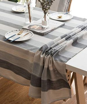 Lahome Stripe Tablecloth Water Resistant Heavy Weight Cotton Linen Table Cover Kitchen Dining Room Restaurant Party Decoration Gray Rectangle 53 X 86 0 300x360