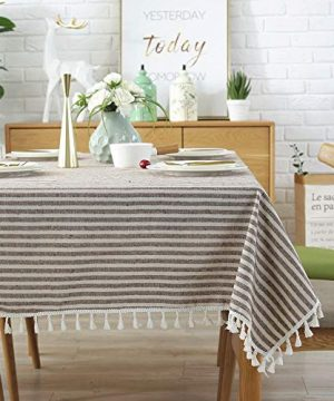 Lahome Stripe Tassel Tablecloth Cotton Linen Table Cover Kitchen Dining Room Restaurant Party Decoration Rectangle 55 X 102 Coffee 0 0 300x360