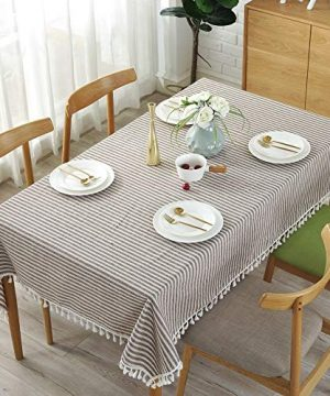 Lahome Stripe Tassel Tablecloth Cotton Linen Table Cover Kitchen Dining Room Restaurant Party Decoration Rectangle 55 X 102 Coffee 0 1 300x360