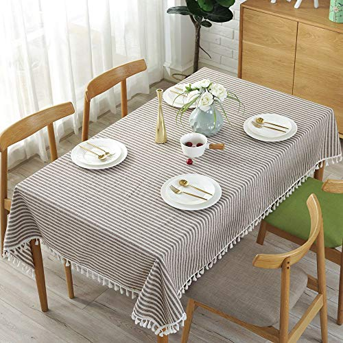 Lahome Stripe Tassel Tablecloth Cotton Linen Table Cover Kitchen Dining Room Restaurant Party Decoration Rectangle 55 X 102 Coffee 0 1