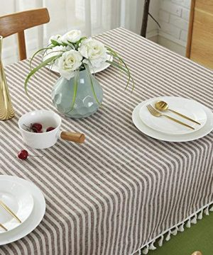 Lahome Stripe Tassel Tablecloth Cotton Linen Table Cover Kitchen Dining Room Restaurant Party Decoration Rectangle 55 X 102 Coffee 0 2 300x360