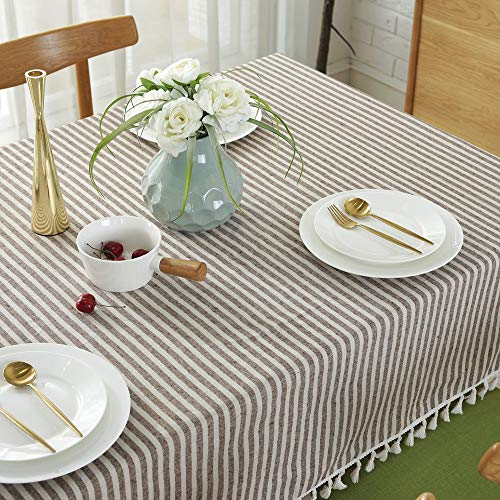 Lahome Stripe Tassel Tablecloth Cotton Linen Table Cover Kitchen Dining Room Restaurant Party Decoration Rectangle 55 X 102 Coffee 0 2