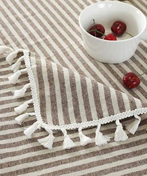 Lahome Stripe Tassel Tablecloth Cotton Linen Table Cover Kitchen Dining Room Restaurant Party Decoration Rectangle 55 X 102 Coffee 0 3 300x360