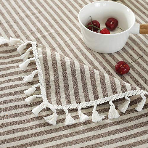Lahome Stripe Tassel Tablecloth Cotton Linen Table Cover Kitchen Dining Room Restaurant Party Decoration Rectangle 55 X 102 Coffee 0 3