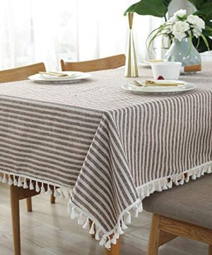 Lahome Stripe Tassel Tablecloth Cotton Linen Table Cover Kitchen Dining Room Restaurant Party Decoration Rectangle 55 X 102 Coffee 0 300x360