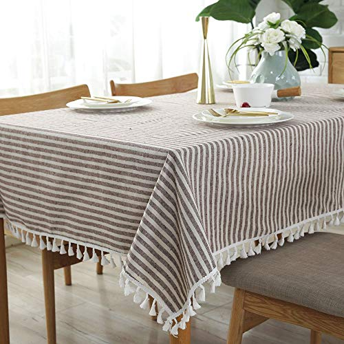 Lahome Stripe Tassel Tablecloth Cotton Linen Table Cover Kitchen Dining Room Restaurant Party Decoration Rectangle 55 X 102 Coffee 0