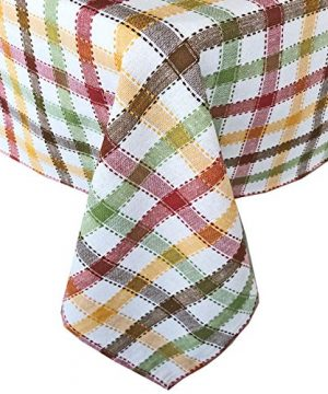 Lintex Farmhouse Multi Autumn Plaid Fall And Thanksgiving 100 Cotton Fabric Tablecloth Fall Cottage Plaid Kitchen And Dining Room Easy Care Cotton Weave Tablecloth 70 Round 0 300x360