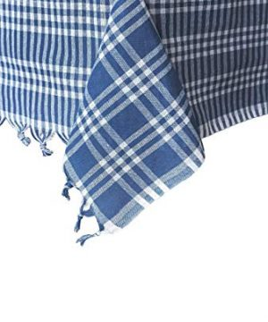 Madame Gayda Tablecloth Checkered Buffalo Check Plaid Linen Cotton Picnic Blanket Mantel Blue Blue 63x63 Inches 0 300x360