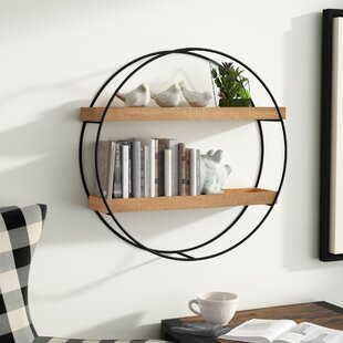 Maisha+Round+Metal+and+Wood+Wall+Shelf