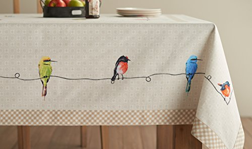 Maison D Hermine Birdies On Wire 100 Cotton Tablecloth 54 Inch By 72 Inch 0 2