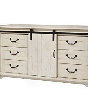 Martin Svensson Home Coastal Farmhouse Solid Wood 9 Drawer Dresser With Sliding Barn Door Antique White Farmhouse Goals
