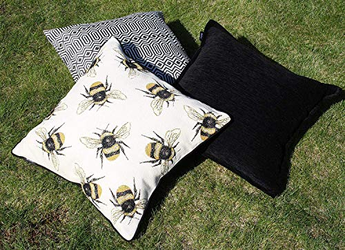McAlister Textiles Bugs Life Filled Pillow Funky Tapestry Honey Bumblebee Yellow Black Decorative Decor Throw Couch Cushion For Bedroom Sofa Living Room Size 16 X 16 Inches 0 1