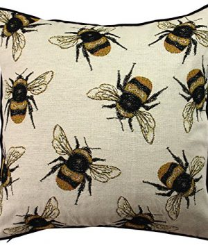 McAlister Textiles Bugs Life Filled Pillow Funky Tapestry Honey Bumblebee Yellow Black Decorative Decor Throw Couch Cushion For Bedroom Sofa Living Room Size 16 X 16 Inches 0 300x360
