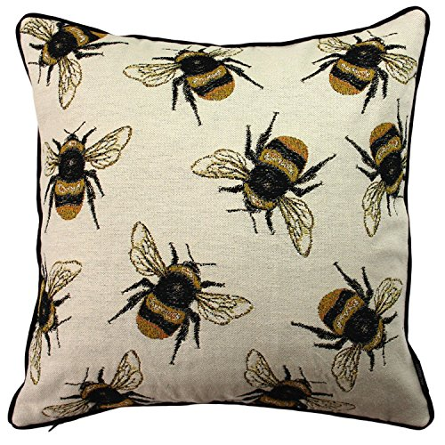 McAlister Textiles Bugs Life Filled Pillow Funky Tapestry Honey Bumblebee Yellow Black Decorative Decor Throw Couch Cushion For Bedroom Sofa Living Room Size 16 X 16 Inches 0