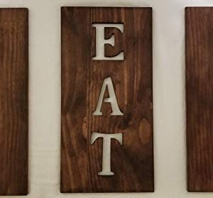 Michigan Warehouse Wooden Kitchen Decor Cutlery Signs Stained Brown Kitchen Art Fork And Spoon Wall Decor Wood Signs Kitchen Designs EAT Sign 0 300x279