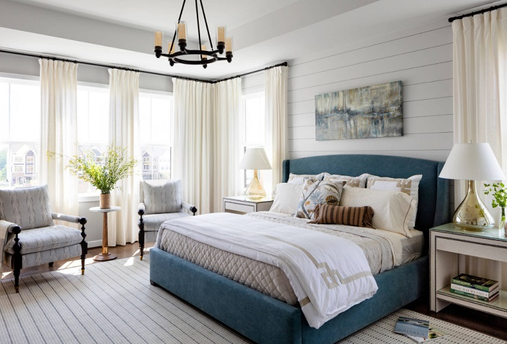 Modern Farmhouse Master Bedroom by Julie Coppa Designs Inc