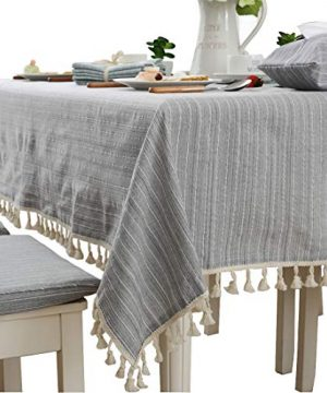 Modern Simple Cotton Grey Striped Tablecloth Party Dining Room Wedding Tablecloths Rectangular 0 300x360