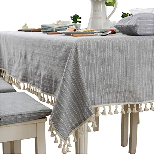 Modern Simple Cotton Grey Striped Tablecloth Party Dining Room Wedding Tablecloths Rectangular 0