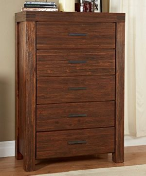 Modus Furniture Meadow Five Drawer Solid Wood Chest Brick Brown 0 300x360