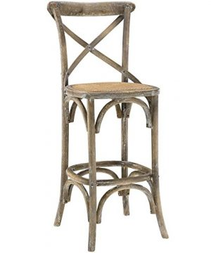 Modway Gear Rustic Farmhouse Elm Wood Rattan Bar Stool In Gray Fully Assembled 0 300x360