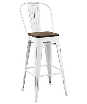 Modway Promenade Industrial Modern Aluminum Bistro Bar Stool With Bamboo Seat In White 0 300x360