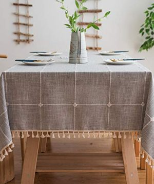 Mokani Washable Cotton Linen Solid Embroidery Checkered Design Tablecloth Rectangle Table Cover Great For Kitchen Dinning Tabletop Buffet Decoration 55 X 86 Inch Gray 0 300x360