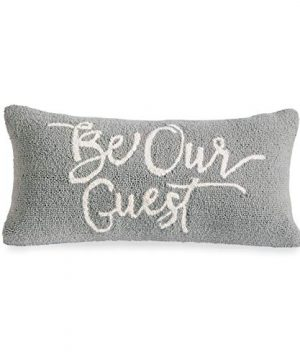 Mud Pie Be Our Guest Hooked Wool Lumbar 24 Accent Pillow Gray 0 300x360