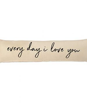 Mud Pie Every Day I Love You Wedding Cotton Accent Lumbar Pillow Decorative Pillow White Grey 0 300x360