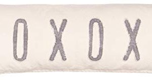 Mud Pie Washed Canvas XOXOXO Long Pillow 4163015 Tan 0 300x158