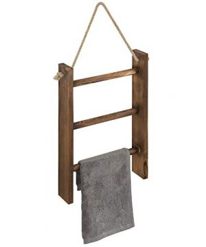 MyGift 3 Tier Rustic Wood Wall Hanging Towel Ladder With Rope Dark Brown 16 X 10 Inch 0 300x360