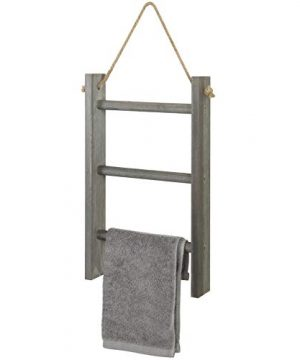 MyGift 3 Tier Rustic Wood Wall Hanging Towel Ladder With Rope Gray 0 300x360