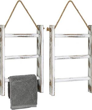 MyGift 3 Tier Wall Hanging Whitewashed Wood Towel Storage Ladder With Top Rope Set Of 2 0 300x360