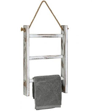 MyGift 3 Tier Whitewashed Wood Wall Hanging Towel Storage Ladder With Rope 0 300x360