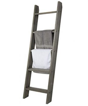 MyGift 45 Ft Wall Leaning Ladder Style Vintage Grey Wood Blanket Rack 0 300x360