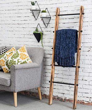 MyGift 5 Ft Urban Rustic Wall Leaning Wood Metal Blanket Ladder 0 0 300x360