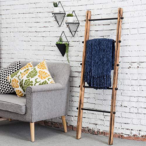 MyGift 5 Ft Urban Rustic Wall Leaning Wood Metal Blanket Ladder 0 0