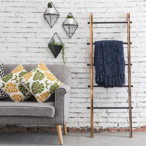 MyGift 5 Ft Urban Rustic Wall Leaning Wood Metal Blanket Ladder 0 1