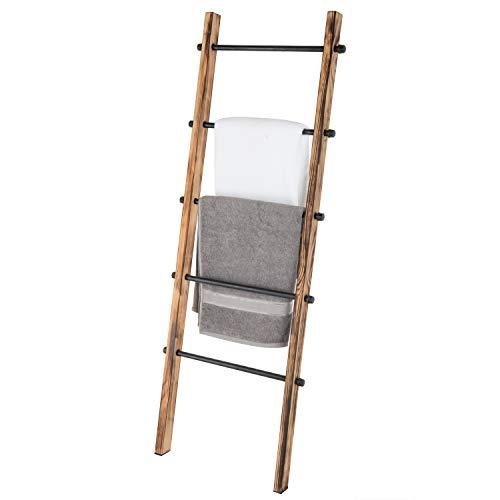 MyGift 5 Ft Urban Rustic Wall Leaning Wood Metal Blanket Ladder 0 3
