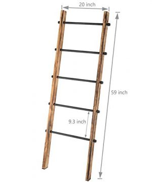 MyGift 5 Ft Urban Rustic Wall Leaning Wood Metal Blanket Ladder 0 5 300x360