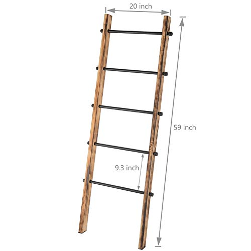 MyGift 5 Ft Urban Rustic Wall Leaning Wood Metal Blanket Ladder 0 5