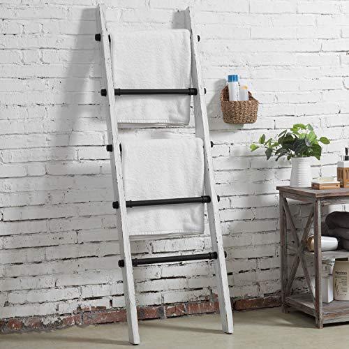 MyGift Industrial Pipe And Vintage Whitewashed Wood Towel Storage Ladder 0 0