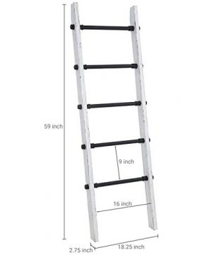 MyGift Industrial Pipe And Vintage Whitewashed Wood Towel Storage Ladder 0 1 300x360